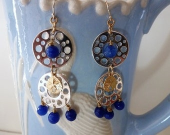 Bubbles Earrings are a little silver, gold, and bright blue melange swinging from your ears! Modern!