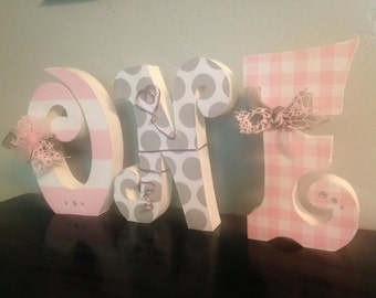 Custom wood letters. Wood letters. First birthday centerpiece. ONE wood decor. First birthday photo prop. Birthda
