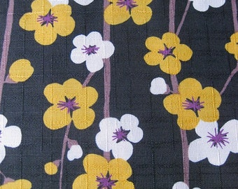 Japanese Fabric - Sakura Branch in Charcoal 1/2 Yard
