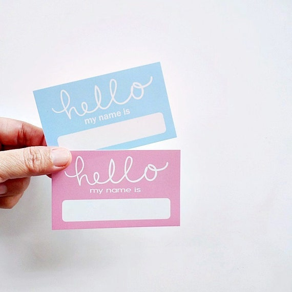 Hello Name Sticker, Party Name Labels, Baby Shower Name Tag, Events  Stickers   Pink Or Blue From PaperFabricStudio On Etsy Studio