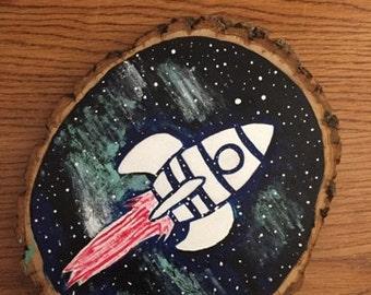Spaceship Wood Block Painting