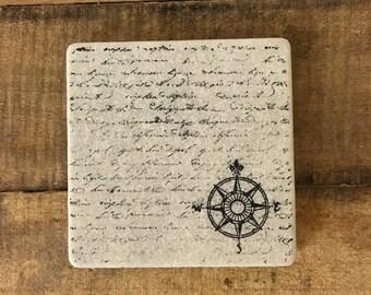 Compass Stone Coasters, Tumbled Marble, Home Decor, Set of Coasters