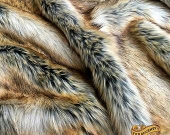 Faux Fur Fabric / Cutting / Swatch / Sample/ Piece / Remnants / Orange Gold Fox / Coyote Wolf Shag
