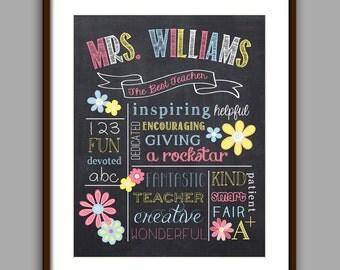 Teacher Gift, Teacher Printable, Personalized Teacher, Flower Teacher Gift, Teacher Appreciation Gift, Teacher Christmas Gift