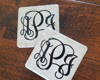 Monogrammed Stone Coasters - Set of 4