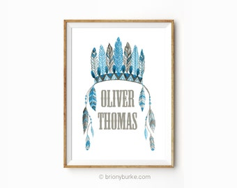 Native American  Personalised Name - Indian Headdress - Feathers - Tribal Illustration -  Boys Room Art