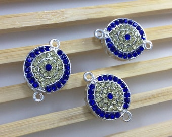 5  pcs silver plated rhinestone Evil Eye Connector Evil Eye jewelry