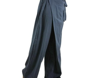 Boho Funky  Wide Leg Mock Wrap Blueish Charcoal Cotton Pants With Elastic At Back Waistband - P039