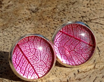 tree leaf nerve earrings, resin, Silver