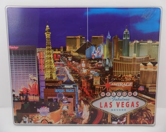 VINTAGE Las Vegas Strip Glass counter top footed cutting cheese board trivet