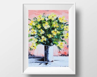 Floral Print, Flower Art, Original Oil, Floral Canvas Art, 11x14 Print, Yellow Poppies, Poppy Print,Romantic Art,Feminine Print,Flower Print