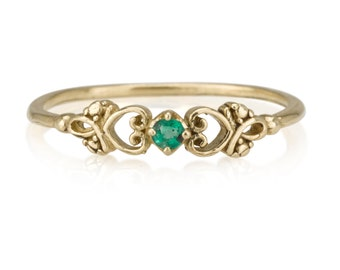 Two Hearts Connected with Emerald stone, Dual Heart Shape Ring With Stone, Ethnic Look, Indian ornamenting, 14K Gold Ring