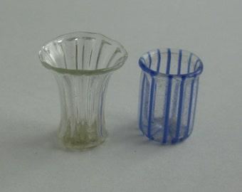 Enchanting, old dollhouse glass mug / glass vase / flower vases. Miniature Lauscha glass. Original Lauscha glass. H 1.5 cm / 1.8 cm. VINTAGE