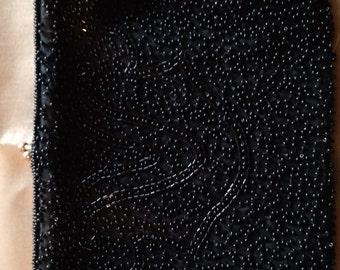Women's Black Beaded Clutch, black beaded purse, beaded purse
