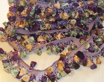 Tassel Trim Green Burgundy and Gold 6 and 2/3 yards