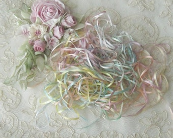 Silk Ribbon Grab Bag - 2MM - Assorted Colors - Twenty 1yd. Pieces - Ribbonwork - Embroidery - Crafts - Dolls, Bears & Miniatures