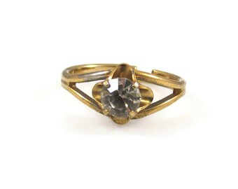 Unique Engagement Style Sparkling Clear Rhinestone and Gold Tone Adjustable Ring