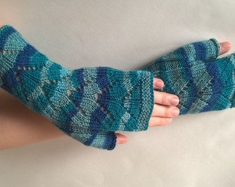 Handmade TEAL, BLUE, and GREENISH ( multicolor ) fingerless gloves, wrist warmers, fingerless mittens. Knitted of wool and polyamide.