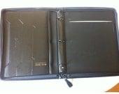 Portfolio  AUREX  Faux Leather 3 Ring Binder Zippered Black Notebook Writing Pad Portfolio A4 Document Holder Cover Case