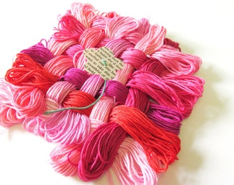 24 Skeins Pack - Valentine Crush - Red Thread - Pack of 24 - Cotton Embroidery Floss
