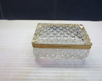 Square Crystal and Brass Lidded Hinged Trinket Box Jewelry Box