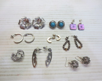 Group of 9 Sets Of Pierced Earrings, Hoops, Balls, Beads And Posts