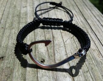 Anchor Bracelet, Fish Hook Nautical Bracelet, Mens Bracelet, Silver Plated Anchor