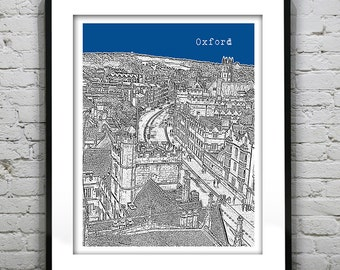 Oxford England Poster  Art Print UK United Kingdom Oxford University Version 3