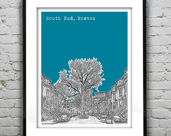 South End Boston Skyline Poster Art Print Massachusetts MA Version 1