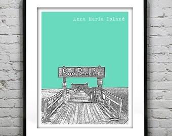 Anna Maria Island Florida Skyline Poster Art Print FL Version 1