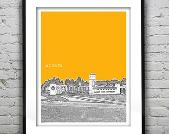 Arcata California Skyline Poster Art Print California CA