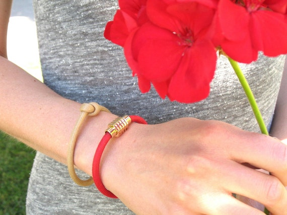 Cord Bracelet in Red or Beige with Knotted Mokuba Cord and Gold Magnetic Clasp / Friendship Bracelet / Chic Minimalist Design
