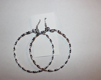 Large Round Silver Pierced Earrings