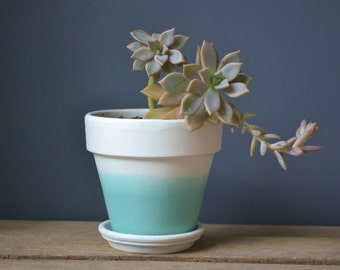 Teal Dip Dyed White Terracotta Pot or Planter