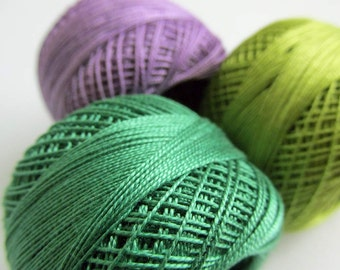 Cotton thread Perle 12, embroidery thread, pearl cotton, crochet thread, 3pc., choose 1 color or take all 3 (4)