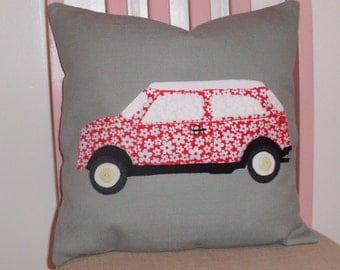 Mini car cushion ,applique pillow,red floral,nursery decor