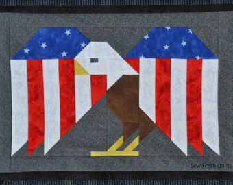 Eagle Quilt Block Pattern, PDF, Instant Download, modern patchwork, patriotic, american, eagle, bird, animal, cute, woodland
