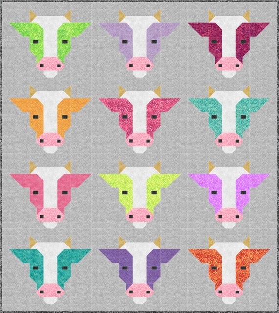 Farm Friends COWS ONLY Quilt Pattern, PDF, Instant Download, farm animal, cow, bull, modern patchwork