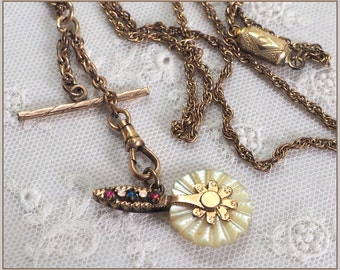 Antique Victorian  Fob Necklace . Mother of Pearl Miniature  Pastry Wheel Cutter . T Bar & Swivel Hook