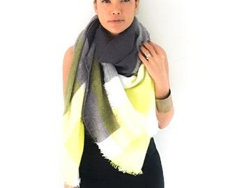 Onuma scarves yellow gray   Winter  scarf