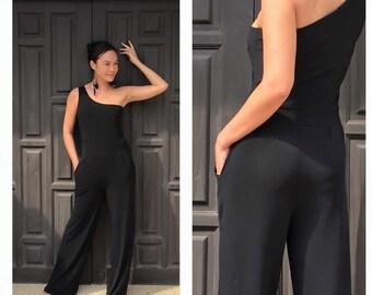 Black Jumpsuit one shoulder long dress all size