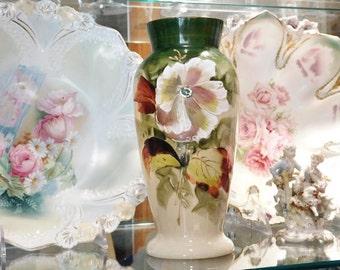 1800s Antique Bristol Glass Vase Victorian Clambroth Opaline Hand Painted Botanical Scene Artisan Hand Blown Glass