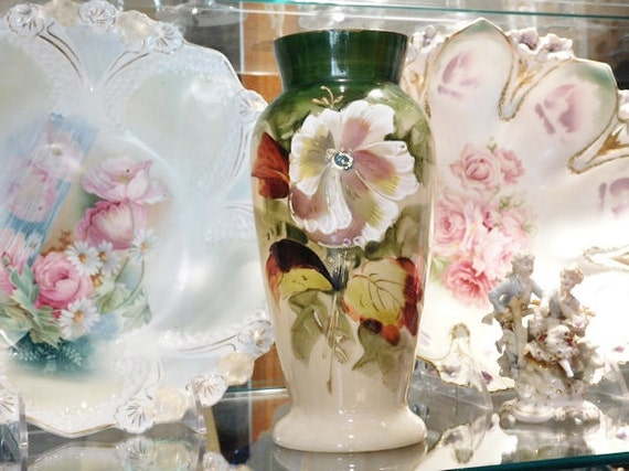 1800s Antique Bristol Glass Vase Victorian Clambroth Opaline Hand Painted Botanical Scene Artisan Hand Blown Glass Cottage Chic Home Decor