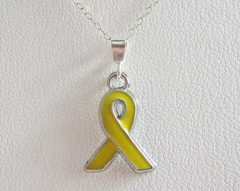 Yellow Enamel Ribbon Pendant Charm and Necklace
