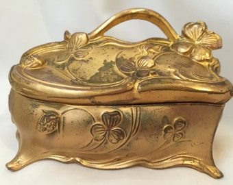 Antique J.B. Jennings Brothers Art Nouveau Casket Jewel Box / Coffin Jewelry Box / Jennings Box / Antique Jewelry / Antique Trinket Box