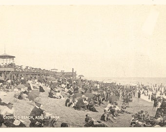 Crowded Beach, Asbury Park, NJ Photo Postcard, c. 1910