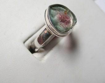 Collectible gorgeous 1.3ct watermelon tourmaline sterling silver bezel set ring
