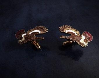 Enamel Gold Tone Turkey Cuff Link Set Cuff Links