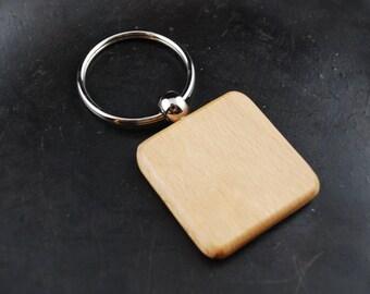 Square Wood Keychain Blank