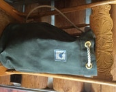 Waxed canvas Work Bag with rope, grommets and brass fittings. Unlined. Easily carries a laptop and other items. Free shipping to US.